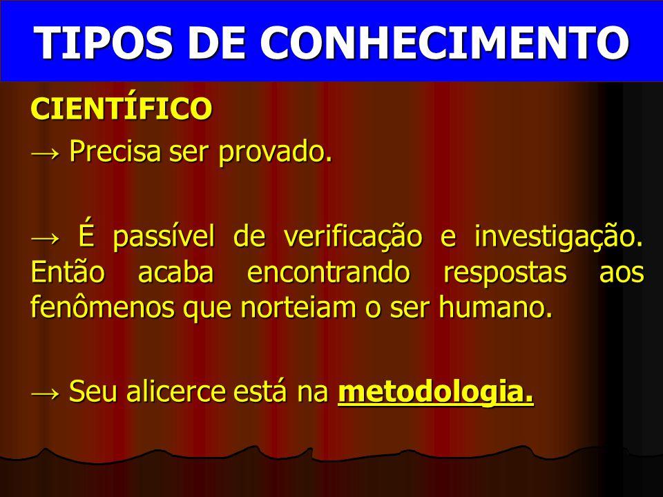 CIENTÍFICO → Precisa ser provado.→ É passível de verificação e investigação.
