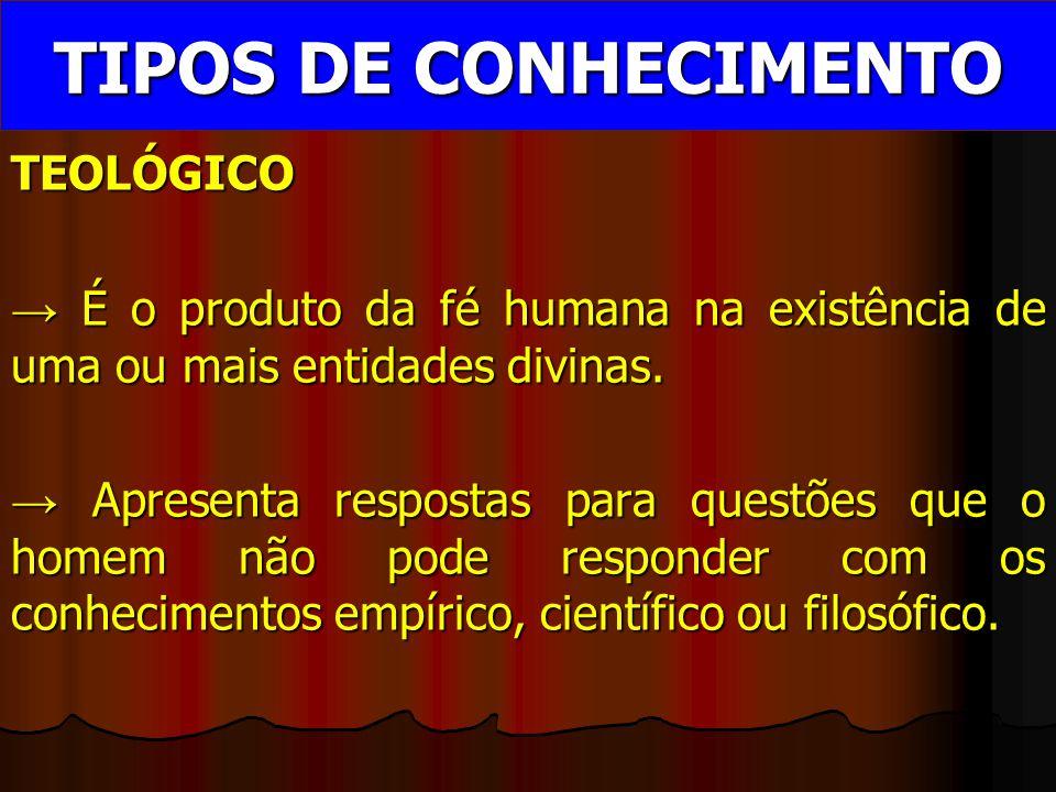 TEOLÓGICO → É o produto da fé humana na existência de uma ou mais entidades divinas.
