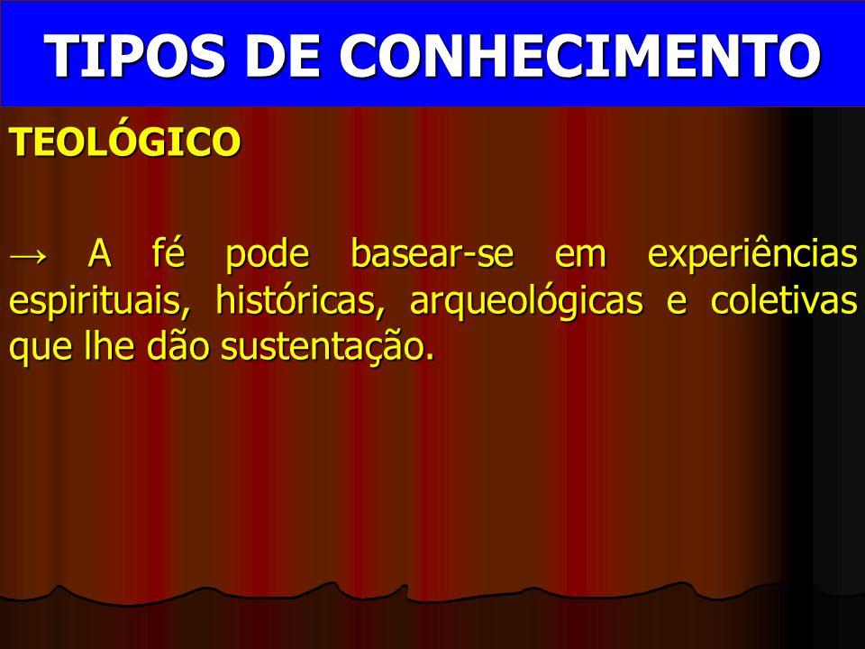 TEOLÓGICO → A fé pode basear-se em experiências espirituais, históricas, arqueológicas e coletivas que lhe dão sustentação.