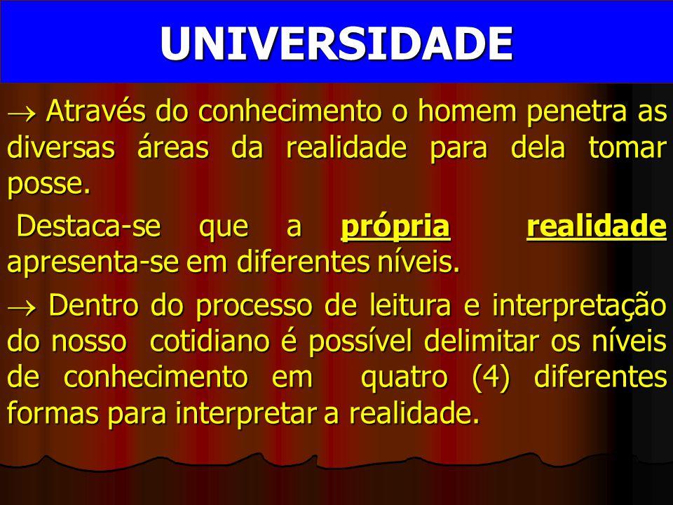  Através do conhecimento o homem penetra as diversas áreas da realidade para dela tomar posse.