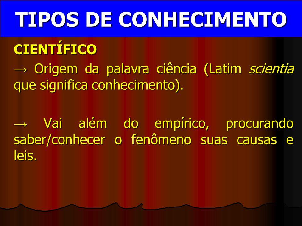CIENTÍFICO → Origem da palavra ciência (Latim scientia que significa conhecimento).