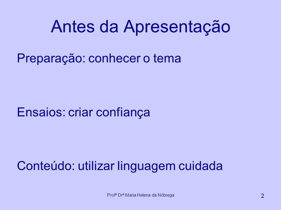 Sugestões para Apresentação em Eventos Acadêmicos e Empresariais Profª Drª Maria Helena da Nóbrega
