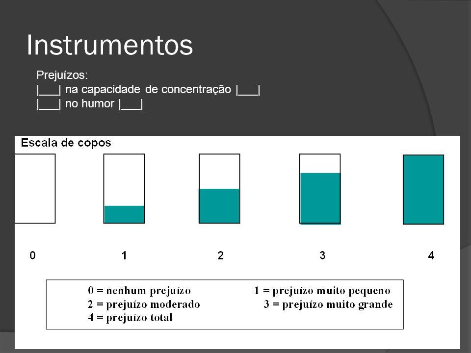 Instrumentos Prejuízos: |___| na capacidade de concentração |___| |___| no humor |___|