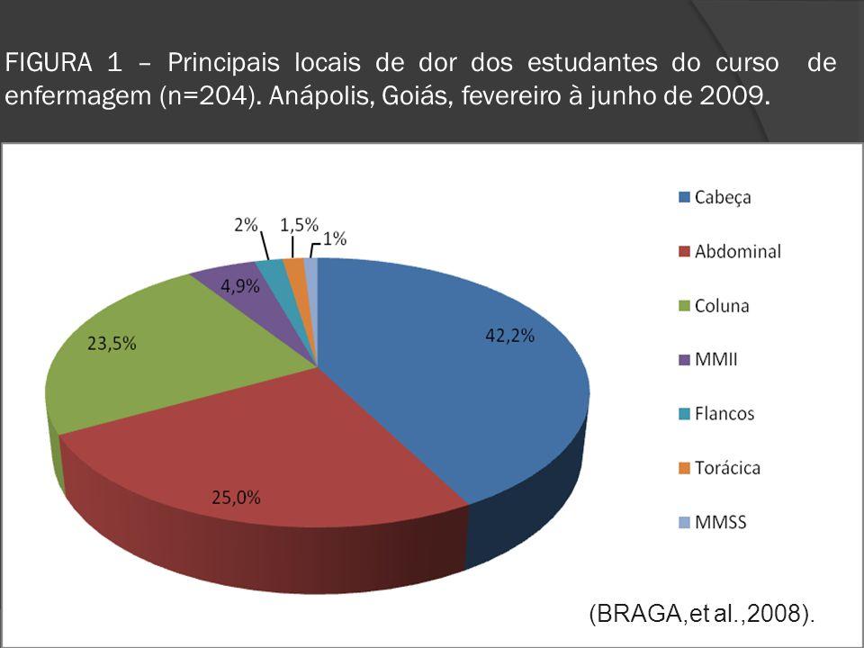FIGURA 1 – Principais locais de dor dos estudantes do curso de enfermagem (n=204).