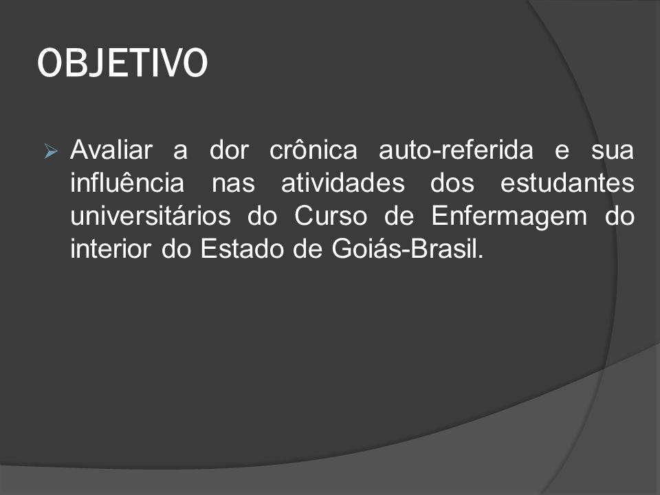 OBJETIVO  Avaliar a dor crônica auto-referida e sua influência nas atividades dos estudantes universitários do Curso de Enfermagem do interior do Estado de Goiás-Brasil.