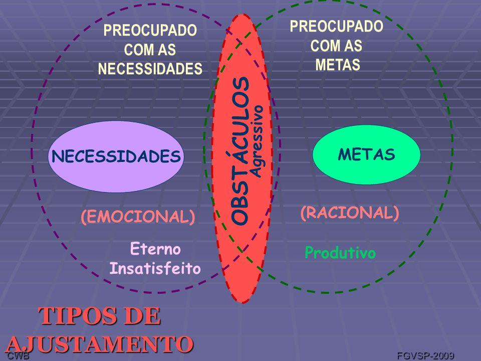 TIPOS DE AJUSTAMENTO PREOCUPADO COM AS NECESSIDADES PREOCUPADO COM AS METAS NECESSIDADES METAS OBSTÁCULOS (EMOCIONAL) (RACIONAL) Eterno Insatisfeito Agressivo Produtivo CWB FGVSP-2009