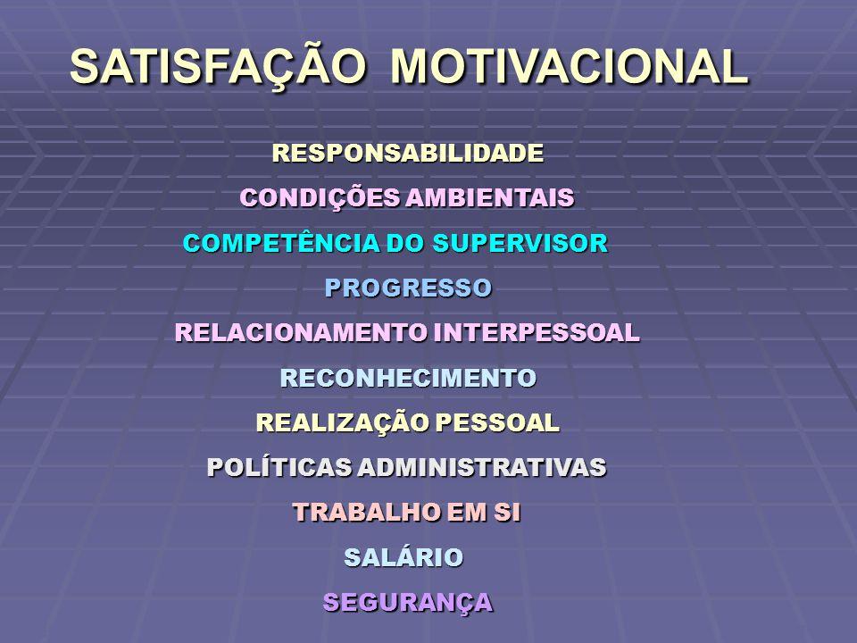 SATISFAÇÃO MOTIVACIONAL SATISFAÇÃO MOTIVACIONAL TRABALHO EM SI SALÁRIO SEGURANÇA REALIZAÇÃO PESSOAL RESPONSABILIDADE RECONHECIMENTO CONDIÇÕES AMBIENTAIS RELACIONAMENTO INTERPESSOAL COMPETÊNCIA DO SUPERVISOR POLÍTICAS ADMINISTRATIVAS PROGRESSO CWB FGV/SP 2006