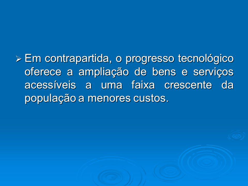  Em contrapartida, o progresso tecnológico oferece a ampliação de bens e serviços acessíveis a uma faixa crescente da população a menores custos.