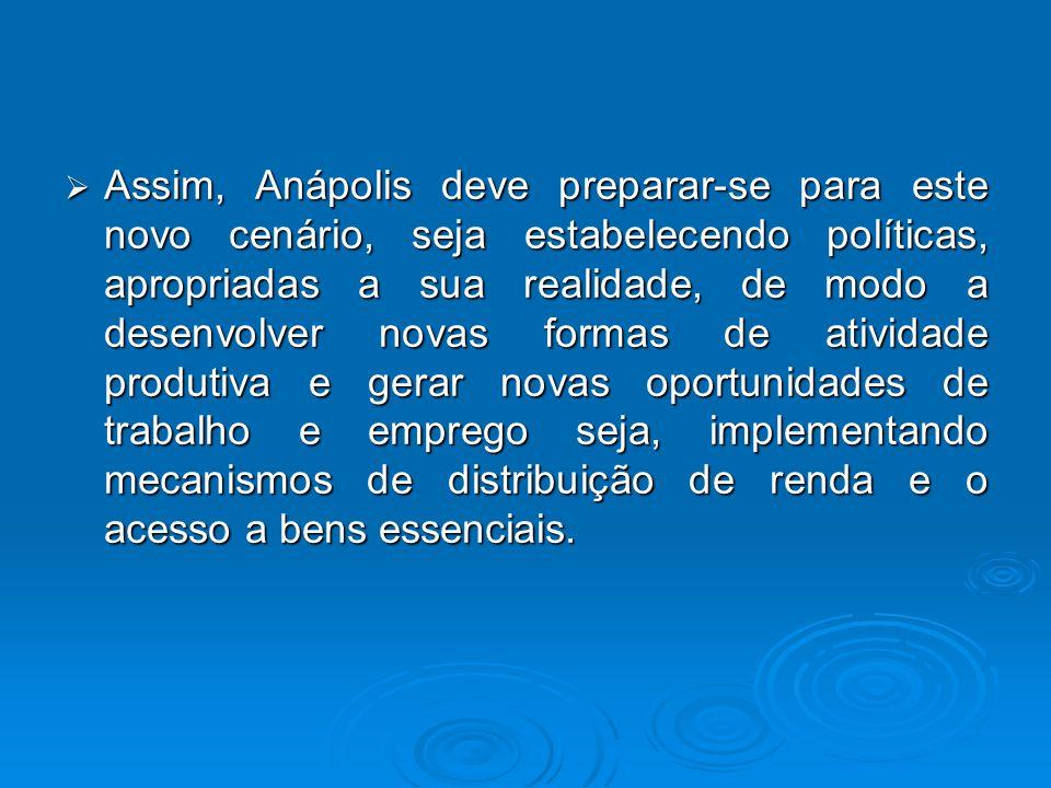  Assim, Anápolis deve preparar-se para este novo cenário, seja estabelecendo políticas, apropriadas a sua realidade, de modo a desenvolver novas form