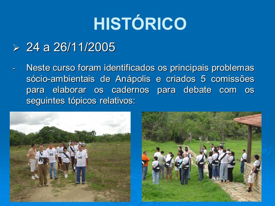  24 a 26/11/2005 - Neste curso foram identificados os principais problemas sócio-ambientais de Anápolis e criados 5 comissões para elaborar os cadern