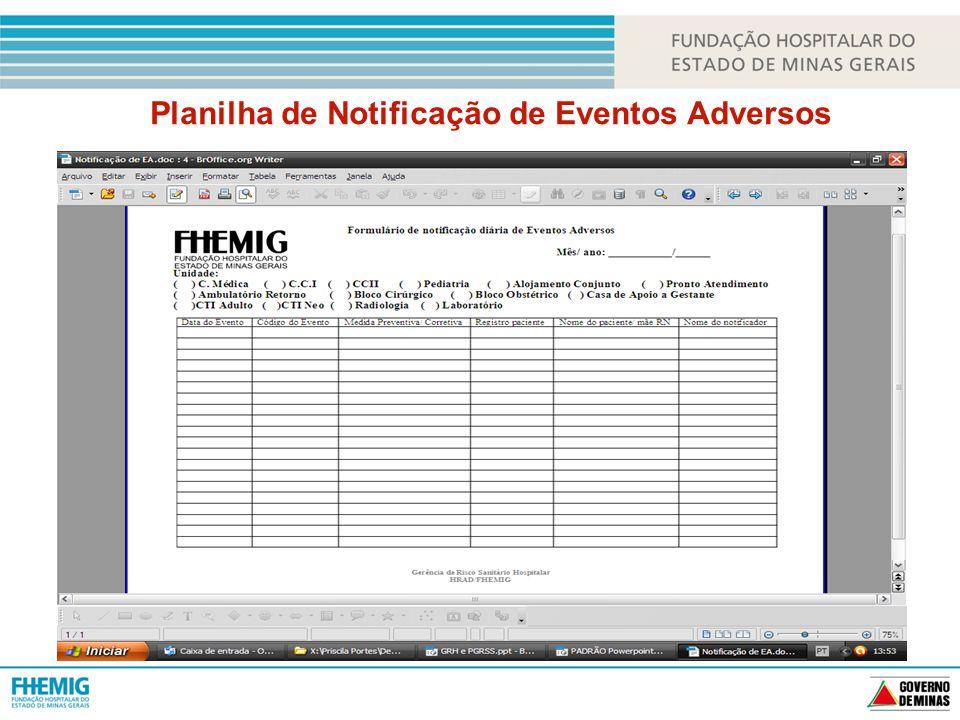 Planilha de Notificação de Eventos Adversos