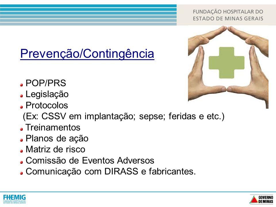 Prevenção/Contingência POP/PRS Legislação Protocolos (Ex: CSSV em implantação; sepse; feridas e etc.) Treinamentos Planos de ação Matriz de risco Comissão de Eventos Adversos Comunicação com DIRASS e fabricantes.