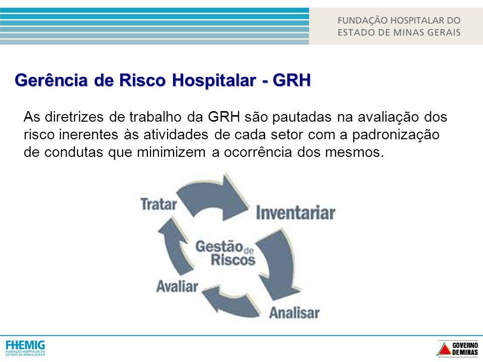 Gerência de Risco Hospitalar - GRH As diretrizes de trabalho da GRH são pautadas na avaliação dos risco inerentes às atividades de cada setor com a padronização de condutas que minimizem a ocorrência dos mesmos.