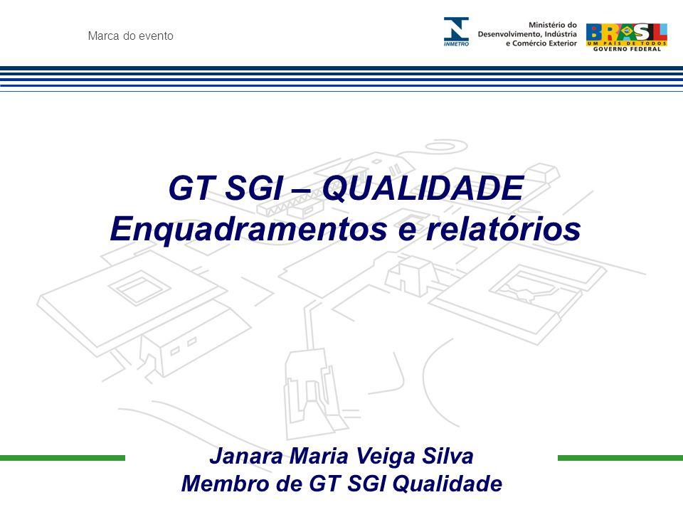 Marca do evento Janara Maria Veiga Silva Membro de GT SGI Qualidade GT SGI – QUALIDADE Enquadramentos e relatórios