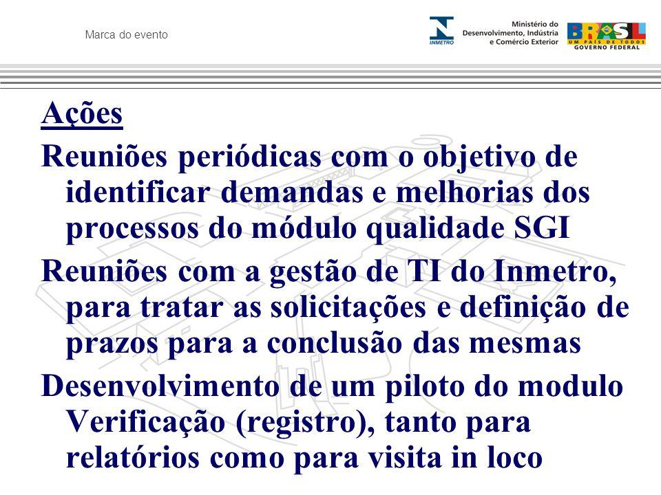 Marca do evento Ações Reuniões periódicas com o objetivo de identificar demandas e melhorias dos processos do módulo qualidade SGI Reuniões com a gestão de TI do Inmetro, para tratar as solicitações e definição de prazos para a conclusão das mesmas Desenvolvimento de um piloto do modulo Verificação (registro), tanto para relatórios como para visita in loco