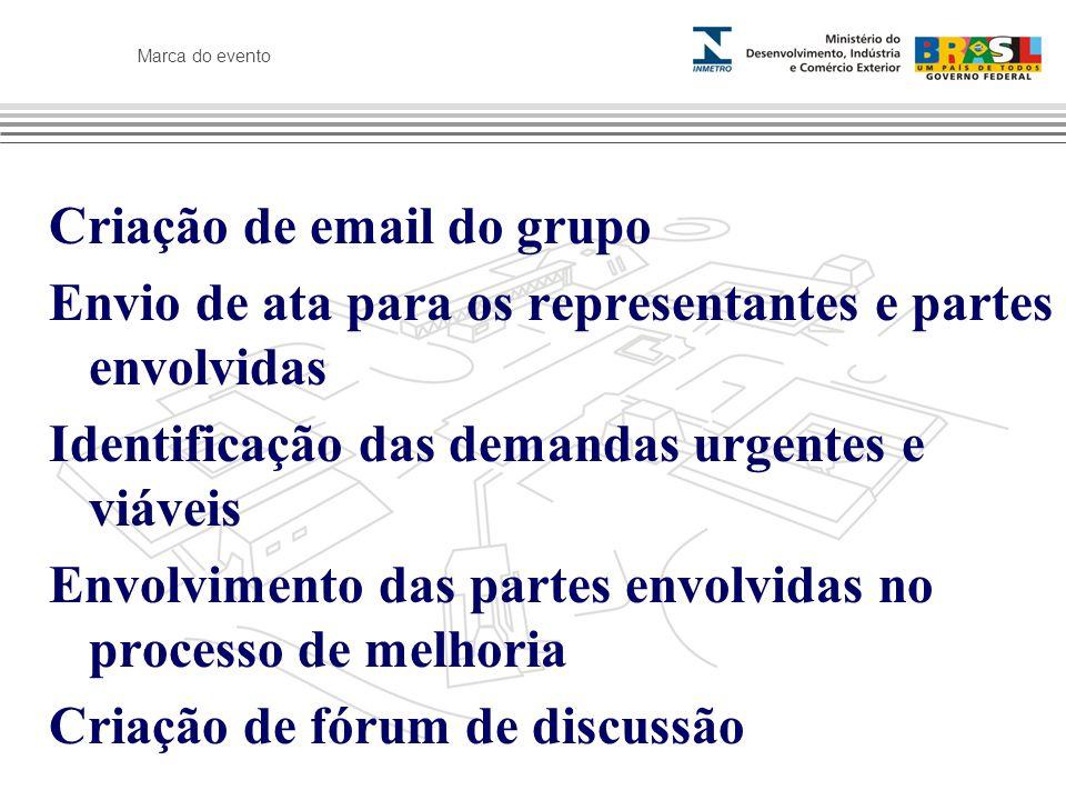Marca do evento Criação de email do grupo Envio de ata para os representantes e partes envolvidas Identificação das demandas urgentes e viáveis Envolvimento das partes envolvidas no processo de melhoria Criação de fórum de discussão