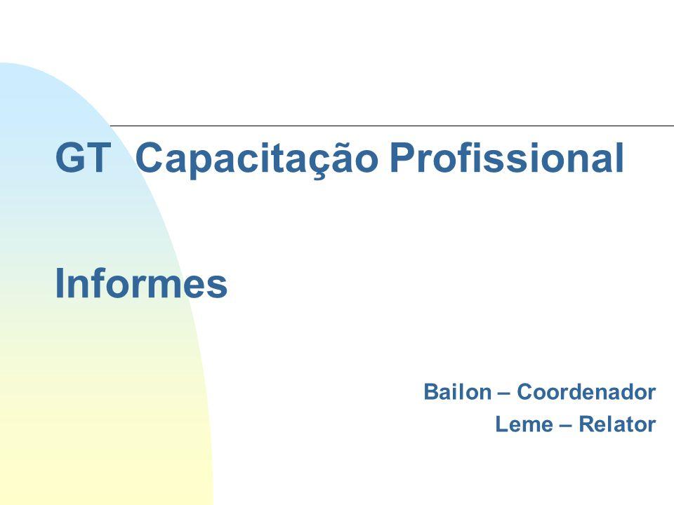 GT Capacitação Profissional Informes Bailon – Coordenador Leme – Relator