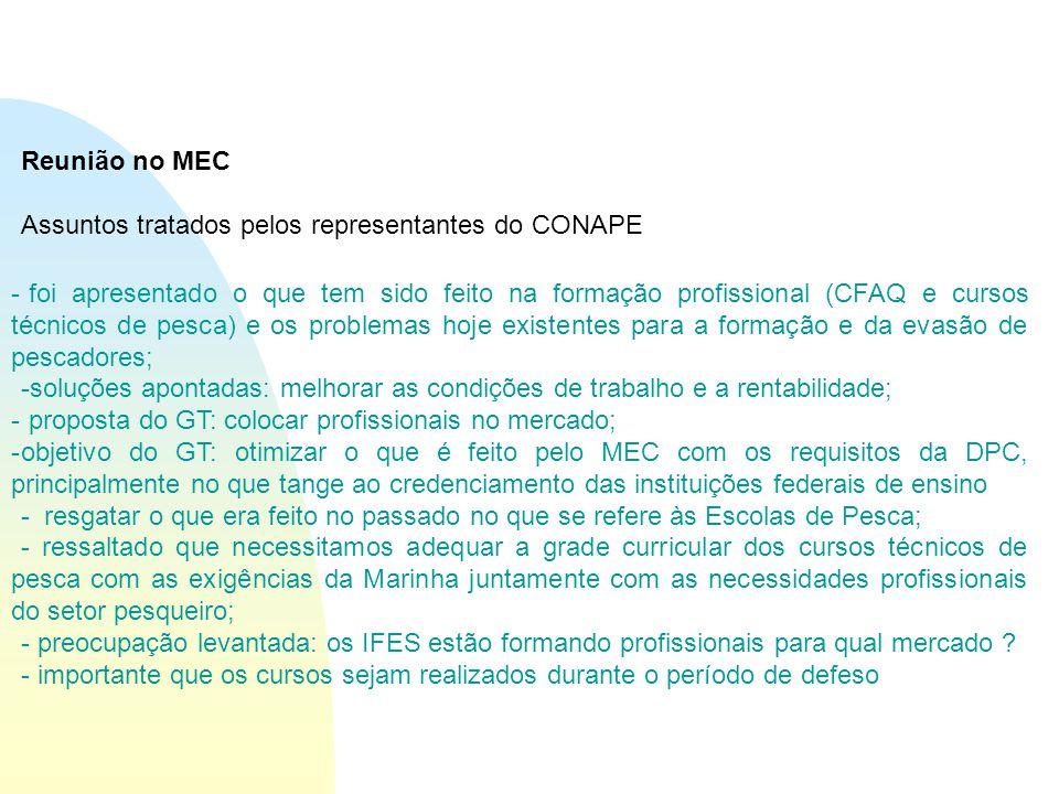 Reunião no MEC Assuntos tratados pelos representantes do CONAPE - foi apresentado o que tem sido feito na formação profissional (CFAQ e cursos técnicos de pesca) e os problemas hoje existentes para a formação e da evasão de pescadores; -soluções apontadas: melhorar as condições de trabalho e a rentabilidade; - proposta do GT: colocar profissionais no mercado; -objetivo do GT: otimizar o que é feito pelo MEC com os requisitos da DPC, principalmente no que tange ao credenciamento das instituições federais de ensino - resgatar o que era feito no passado no que se refere às Escolas de Pesca; - ressaltado que necessitamos adequar a grade curricular dos cursos técnicos de pesca com as exigências da Marinha juntamente com as necessidades profissionais do setor pesqueiro; - preocupação levantada: os IFES estão formando profissionais para qual mercado .