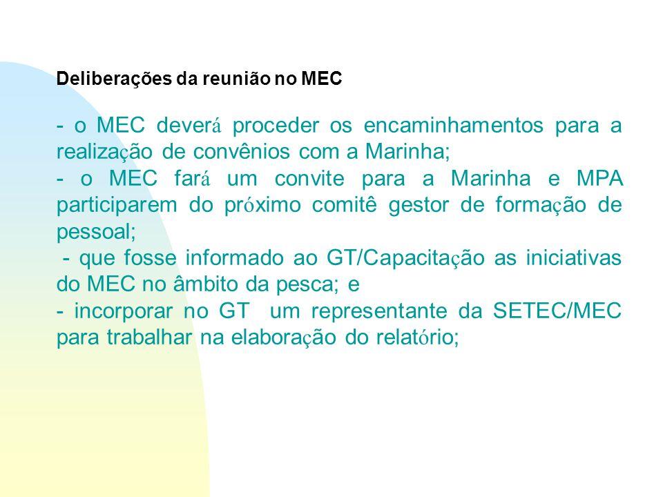 Deliberações da reunião no MEC - o MEC dever á proceder os encaminhamentos para a realiza ç ão de convênios com a Marinha; - o MEC far á um convite para a Marinha e MPA participarem do pr ó ximo comitê gestor de forma ç ão de pessoal; - que fosse informado ao GT/Capacita ç ão as iniciativas do MEC no âmbito da pesca; e - incorporar no GT um representante da SETEC/MEC para trabalhar na elabora ç ão do relat ó rio;