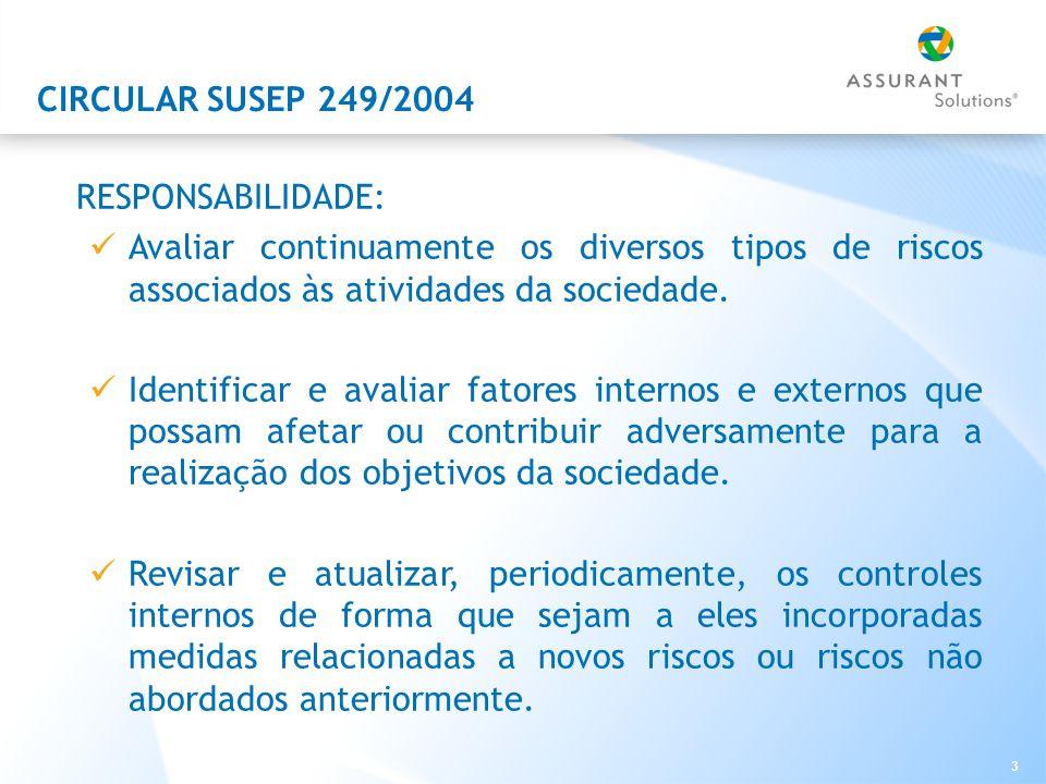 3 CIRCULAR SUSEP 249/2004 RESPONSABILIDADE: Avaliar continuamente os diversos tipos de riscos associados às atividades da sociedade.