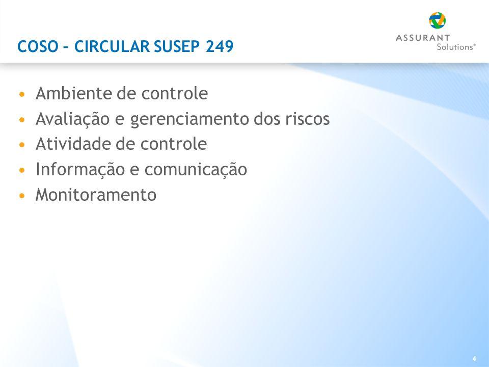 4 COSO – CIRCULAR SUSEP 249 Ambiente de controle Avaliação e gerenciamento dos riscos Atividade de controle Informação e comunicação Monitoramento