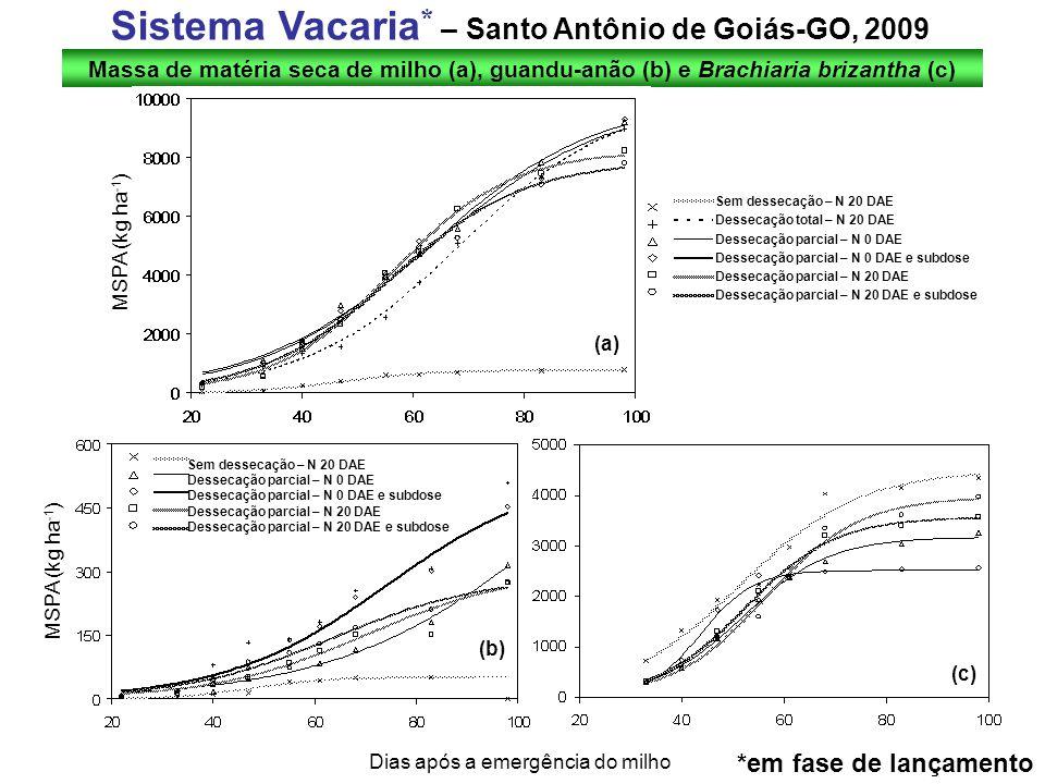 Massa de matéria seca de milho (a), guandu-anão (b) e Brachiaria brizantha (c) Sistema Vacaria * – Santo Antônio de Goiás-GO, 2009 MSPA (kg ha -1 ) Di
