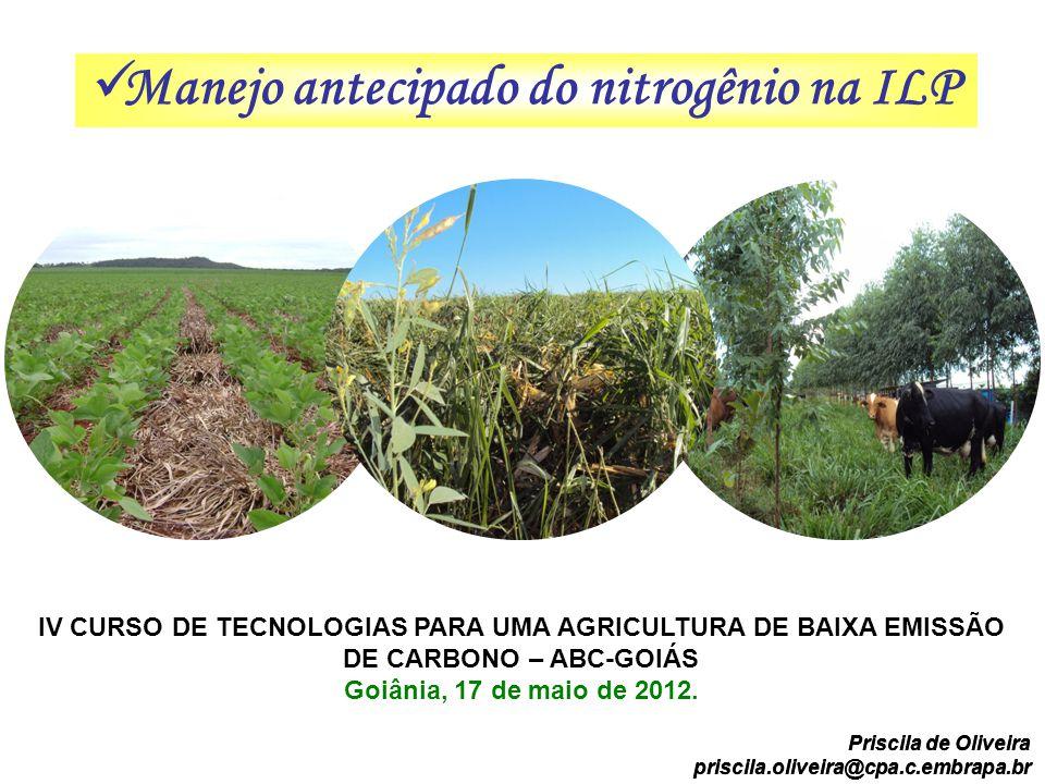 Manejo antecipado do nitrogênio na ILP IV CURSO DE TECNOLOGIAS PARA UMA AGRICULTURA DE BAIXA EMISSÃO DE CARBONO – ABC-GOIÁS Goiânia, 17 de maio de 201