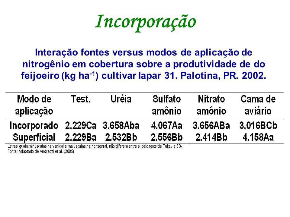 Interação fontes versus modos de aplicação de nitrogênio em cobertura sobre a produtividade de do feijoeiro (kg ha -1 ) cultivar Iapar 31. Palotina, P