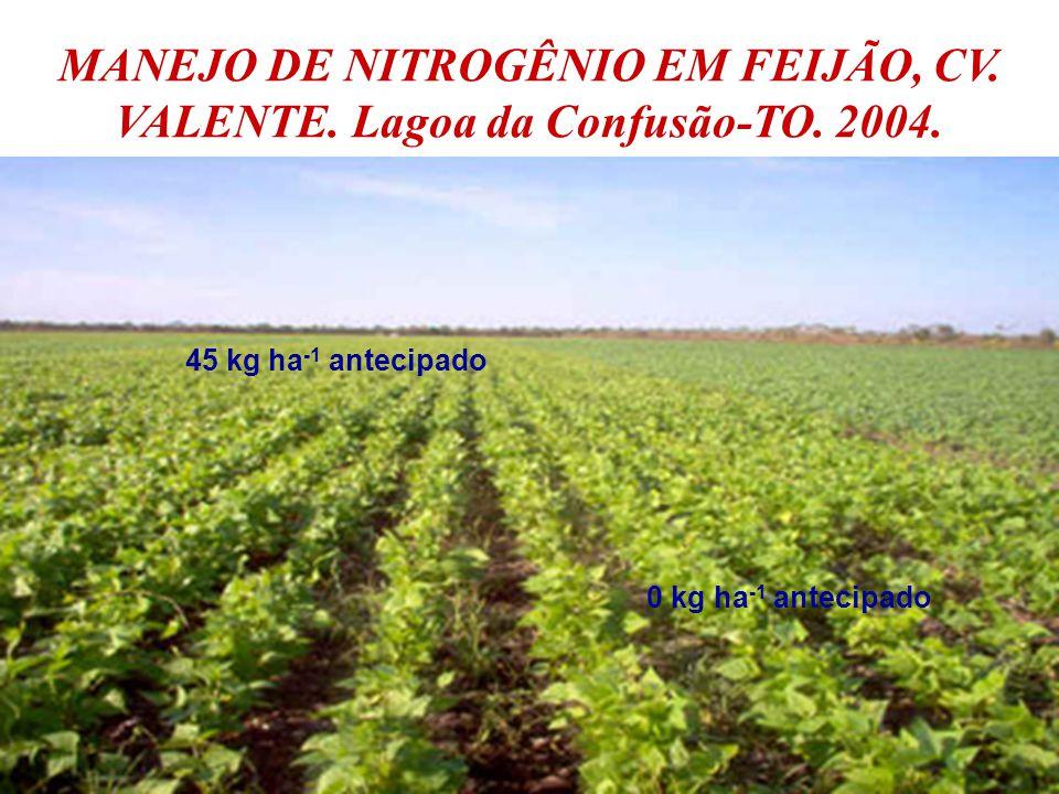MANEJO DE NITROGÊNIO EM FEIJÃO, CV. VALENTE. Lagoa da Confusão-TO. 2004. 45 kg ha -1 antecipado 0 kg ha -1 antecipado