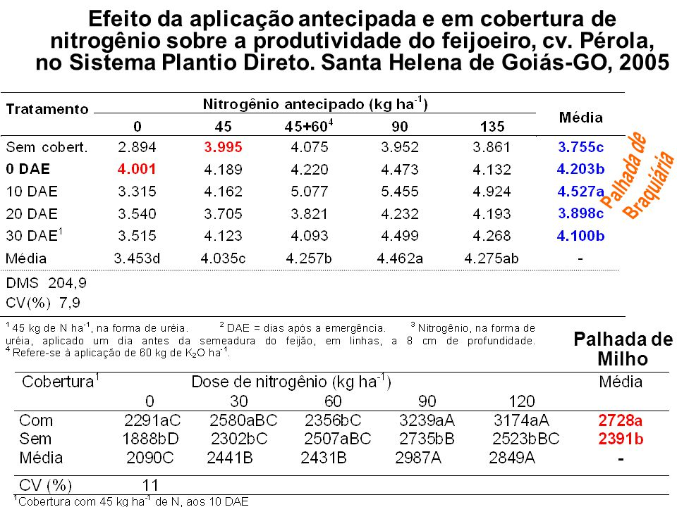 Efeito da aplicação antecipada e em cobertura de nitrogênio sobre a produtividade do feijoeiro, cv. Pérola, no Sistema Plantio Direto. Santa Helena de