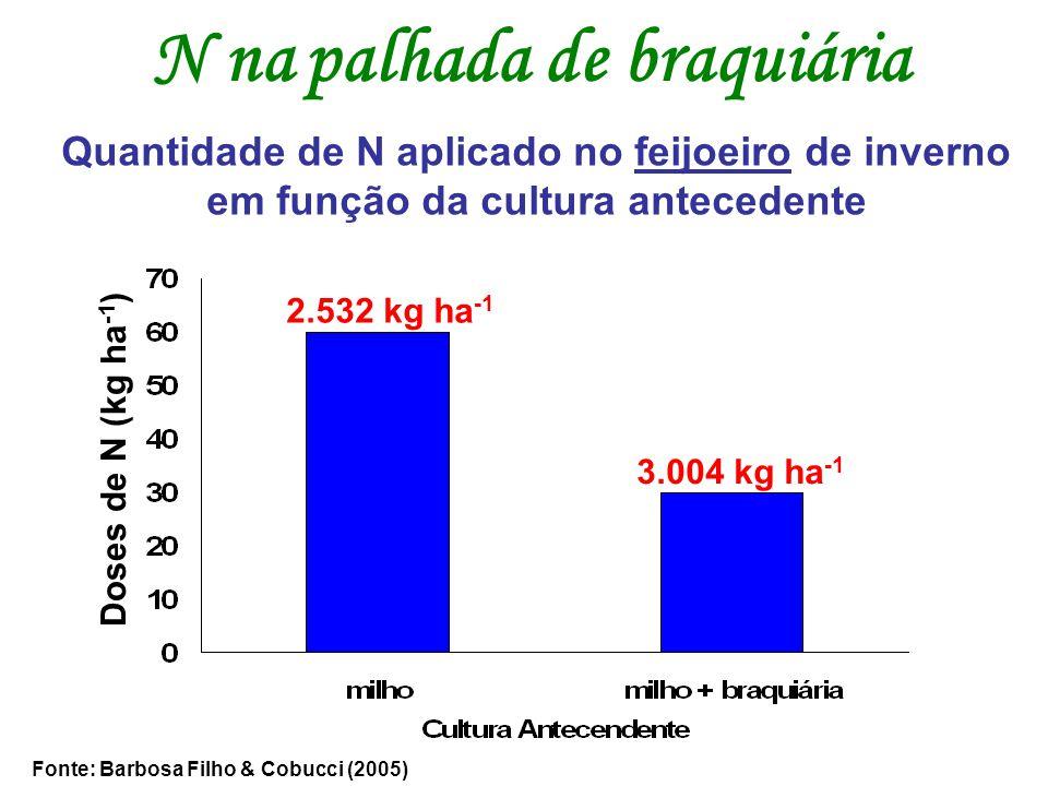N na palhada de braquiária Quantidade de N aplicado no feijoeiro de inverno em função da cultura antecedente Fonte: Barbosa Filho & Cobucci (2005) 2.5