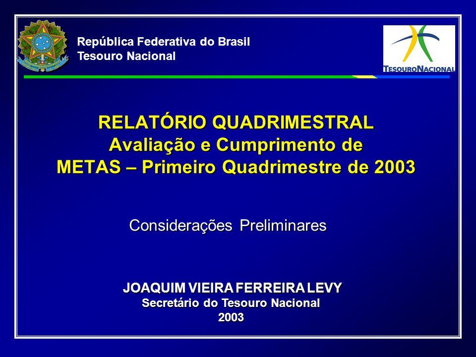 República Federativa do Brasil Tesouro Nacional RELATÓRIO QUADRIMESTRAL Avaliação e Cumprimento de METAS – Primeiro Quadrimestre de 2003 JOAQUIM VIEIRA FERREIRA LEVY Secretário do Tesouro Nacional 2003 JOAQUIM VIEIRA FERREIRA LEVY Secretário do Tesouro Nacional 2003 Considerações Preliminares