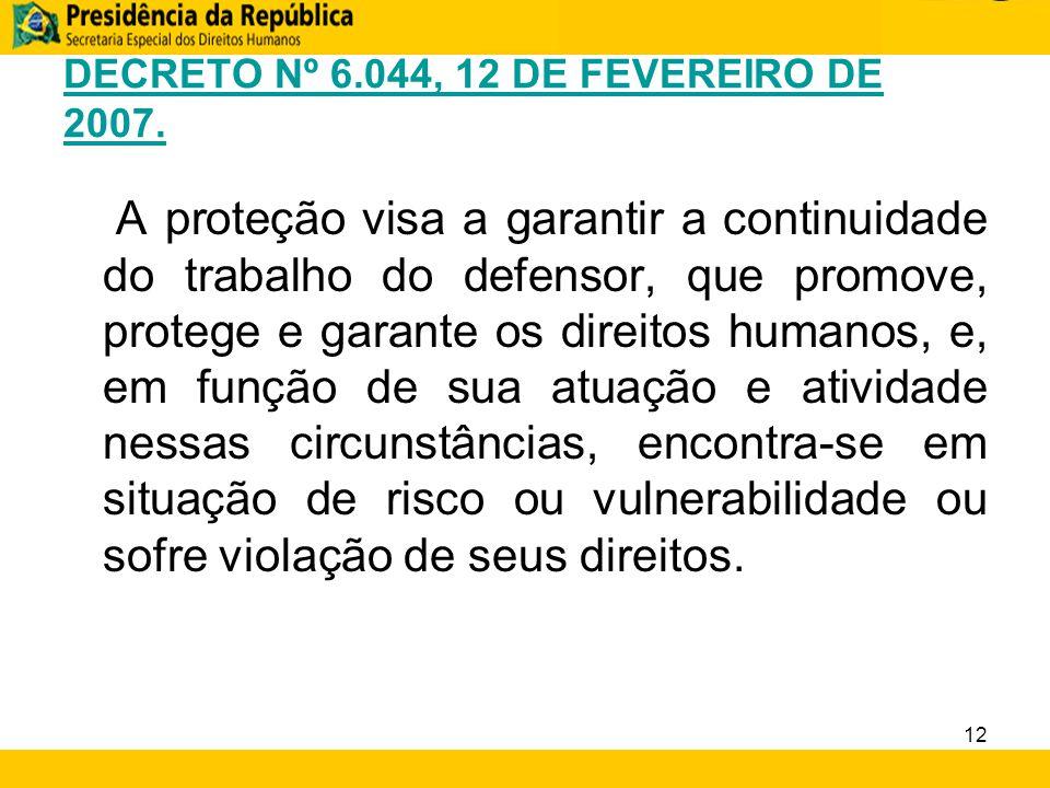 DECRETO Nº 6.044, 12 DE FEVEREIRO DE 2007. A proteção visa a garantir a continuidade do trabalho do defensor, que promove, protege e garante os direit