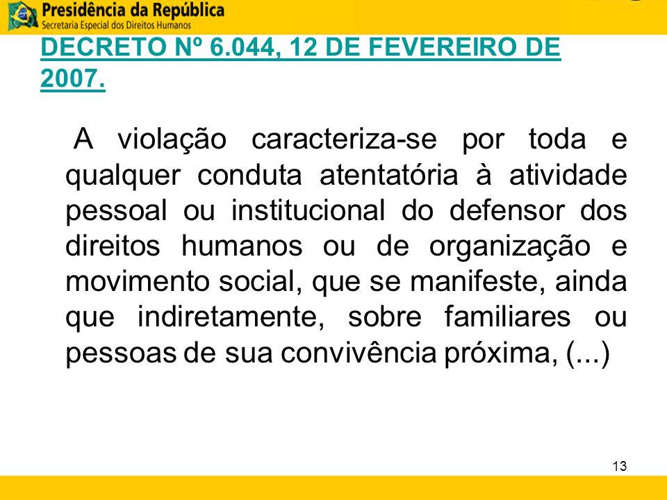 DECRETO Nº 6.044, 12 DE FEVEREIRO DE 2007. A violação caracteriza-se por toda e qualquer conduta atentatória à atividade pessoal ou institucional do d