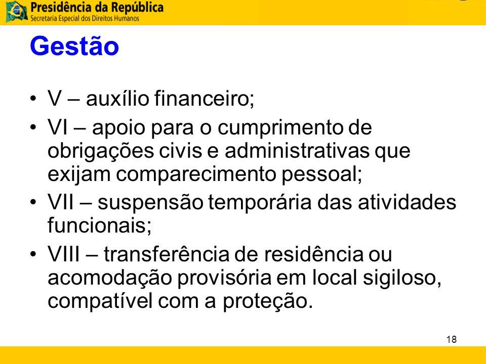 Gestão V – auxílio financeiro; VI – apoio para o cumprimento de obrigações civis e administrativas que exijam comparecimento pessoal; VII – suspensão
