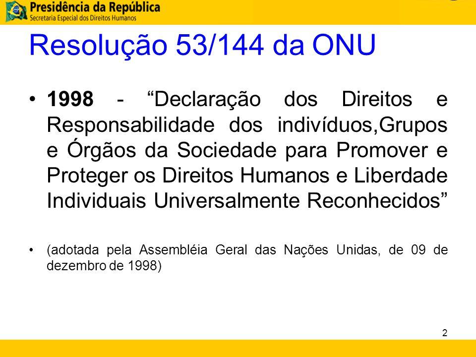 """Resolução 53/144 da ONU 1998 - """"Declaração dos Direitos e Responsabilidade dos indivíduos,Grupos e Órgãos da Sociedade para Promover e Proteger os Dir"""