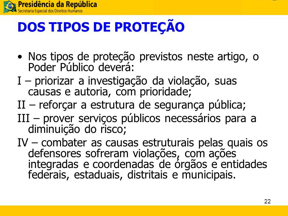 DOS TIPOS DE PROTEÇÃO Nos tipos de proteção previstos neste artigo, o Poder Público deverá: I – priorizar a investigação da violação, suas causas e au