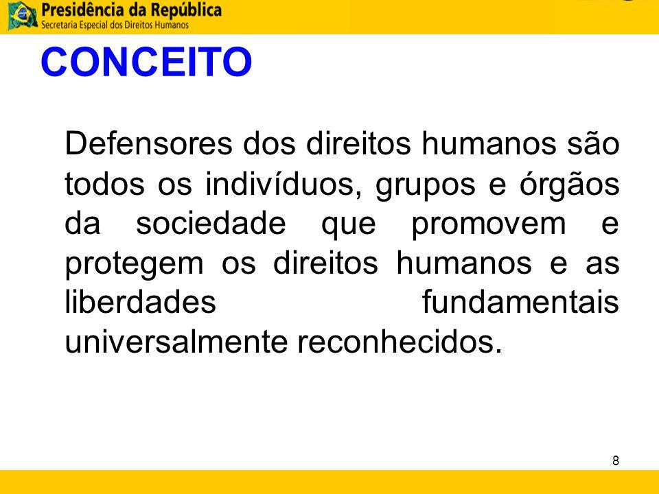 CONCEITO Defensores dos direitos humanos são todos os indivíduos, grupos e órgãos da sociedade que promovem e protegem os direitos humanos e as liberd