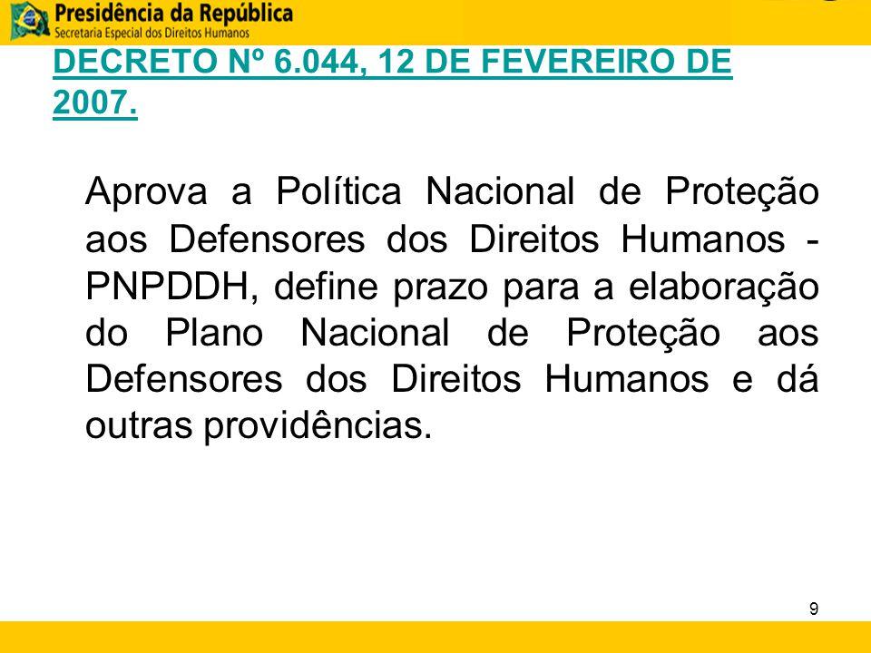 DECRETO Nº 6.044, 12 DE FEVEREIRO DE 2007. Aprova a Política Nacional de Proteção aos Defensores dos Direitos Humanos - PNPDDH, define prazo para a el