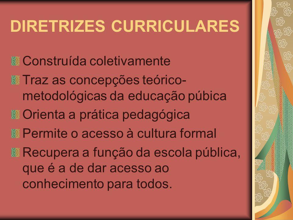 DIRETRIZES CURRICULARES Construída coletivamente Traz as concepções teórico- metodológicas da educação púbica Orienta a prática pedagógica Permite o acesso à cultura formal Recupera a função da escola pública, que é a de dar acesso ao conhecimento para todos.