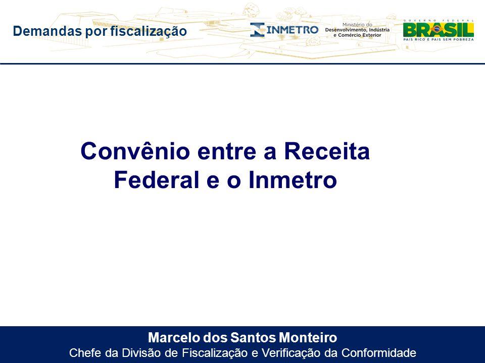 Demandas por fiscalização Marcelo dos Santos Monteiro Chefe da Divisão de Fiscalização e Verificação da Conformidade Convênio entre a Receita Federal
