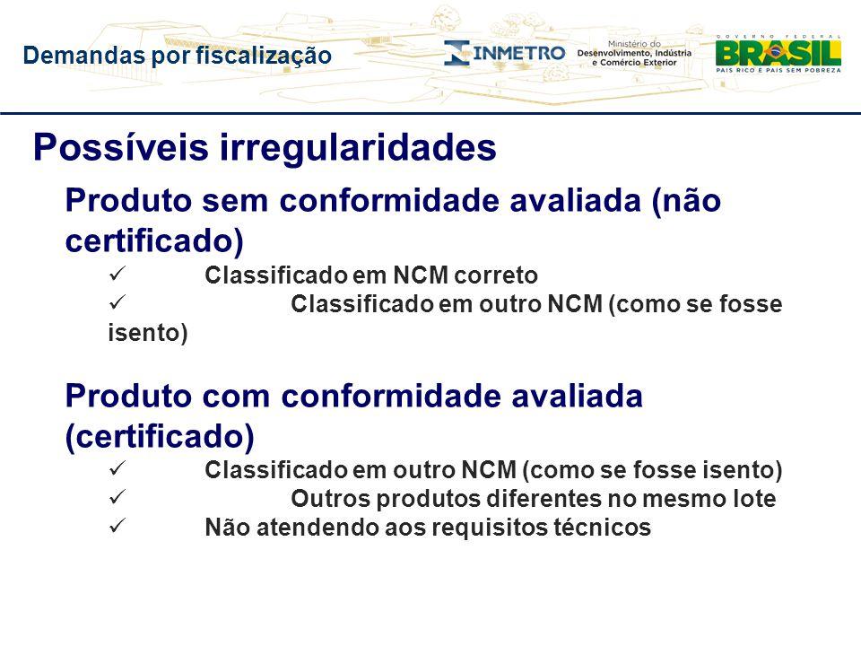 Possíveis irregularidades Produto sem conformidade avaliada (não certificado) Classificado em NCM correto Classificado em outro NCM (como se fosse ise