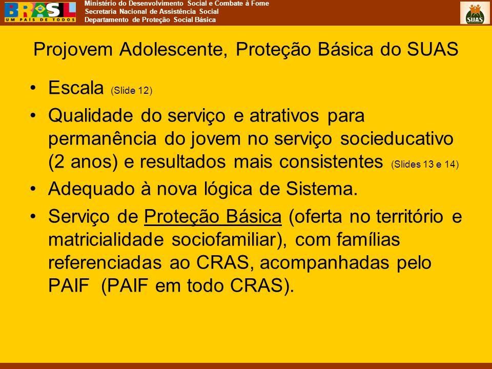 Ministério do Desenvolvimento Social e Combate à Fome Secretaria Nacional de Assistência Social Departamento de Proteção Social Básica Projovem Adoles