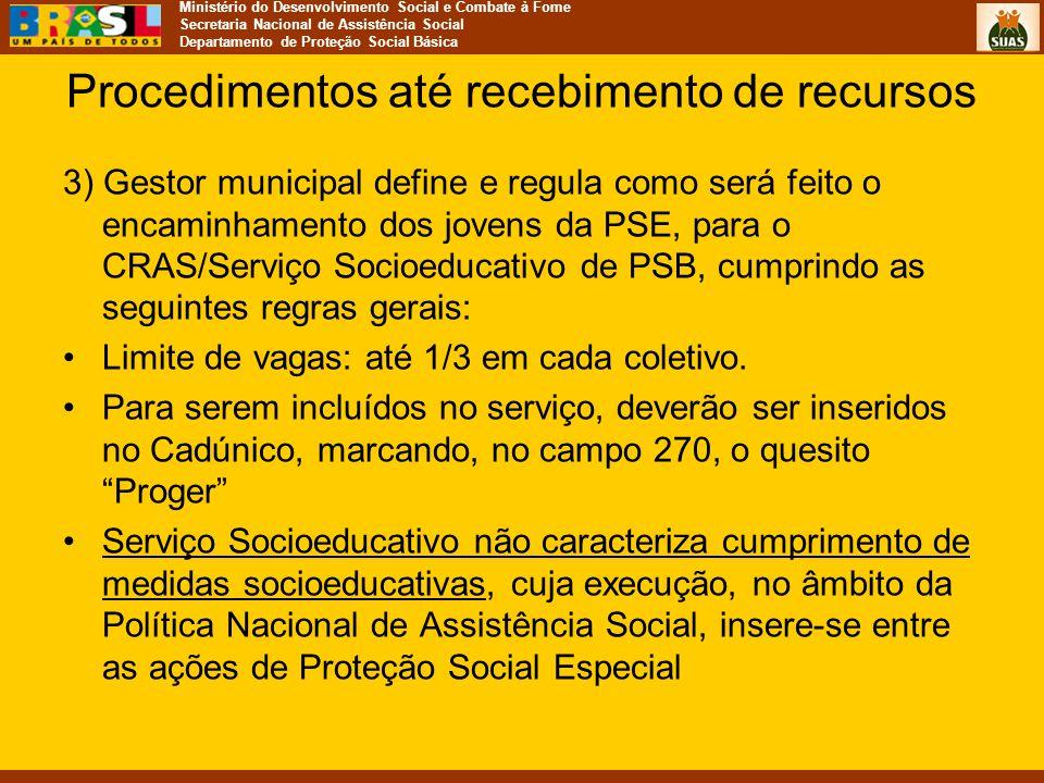 Ministério do Desenvolvimento Social e Combate à Fome Secretaria Nacional de Assistência Social Departamento de Proteção Social Básica Procedimentos a
