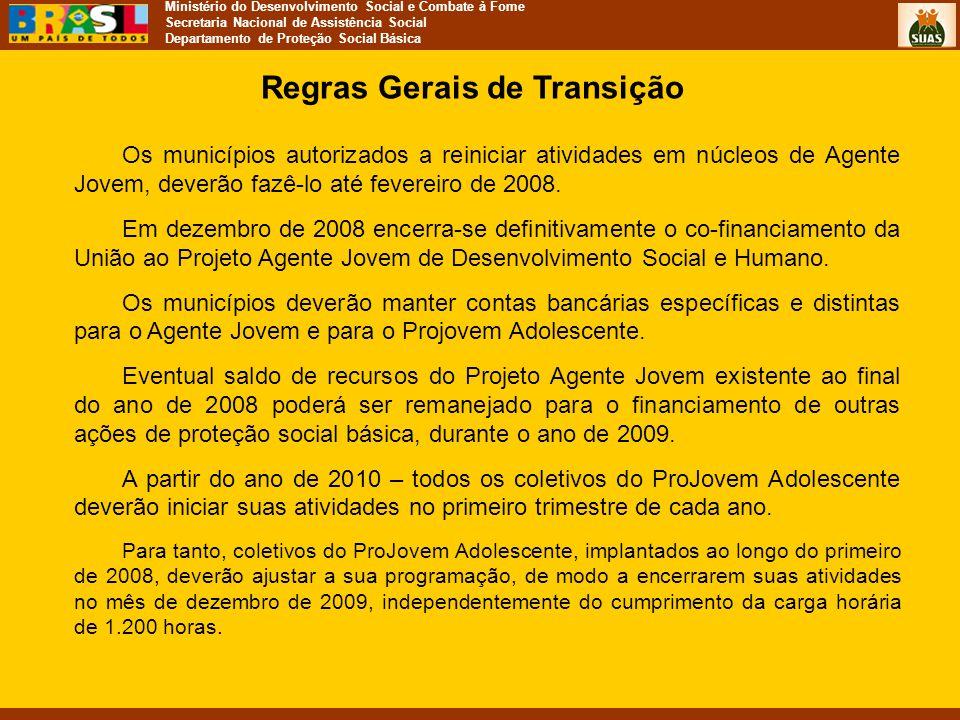 Ministério do Desenvolvimento Social e Combate à Fome Secretaria Nacional de Assistência Social Departamento de Proteção Social Básica Regras Gerais d