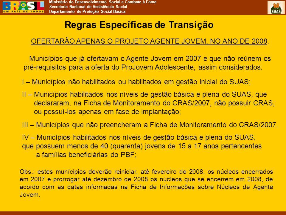 Ministério do Desenvolvimento Social e Combate à Fome Secretaria Nacional de Assistência Social Departamento de Proteção Social Básica Regras Específi