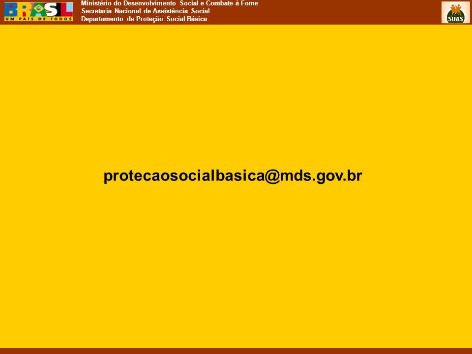 Ministério do Desenvolvimento Social e Combate à Fome Secretaria Nacional de Assistência Social Departamento de Proteção Social Básica protecaosocialb