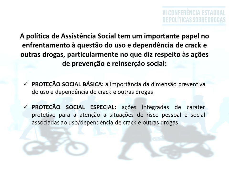 A política de Assistência Social tem um importante papel no enfrentamento à questão do uso e dependência de crack e outras drogas, particularmente no