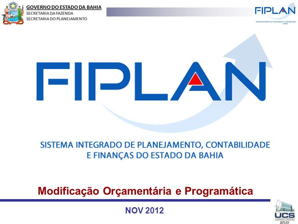 Modificação Orçamentária e Programática NOV 2012
