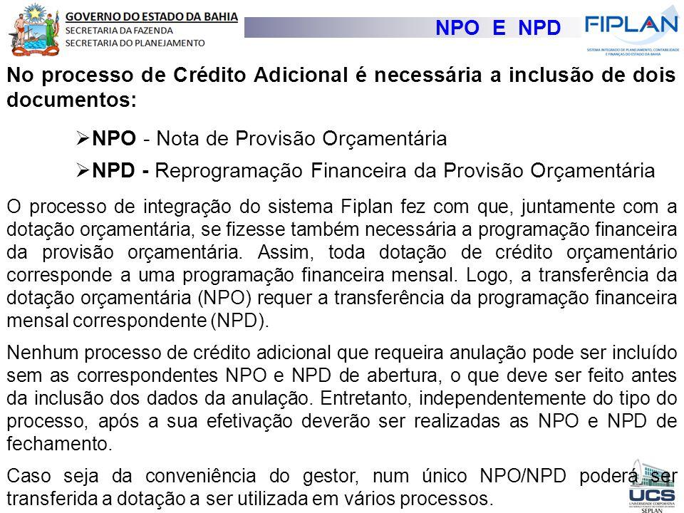 NPO E NPD No processo de Crédito Adicional é necessária a inclusão de dois documentos:  NPO - Nota de Provisão Orçamentária  NPD - Reprogramação Fin